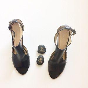 Nine West Black Wedge Dress Sandals Size 10 EUC